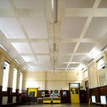 School hall ceiling mounted absorptive panels