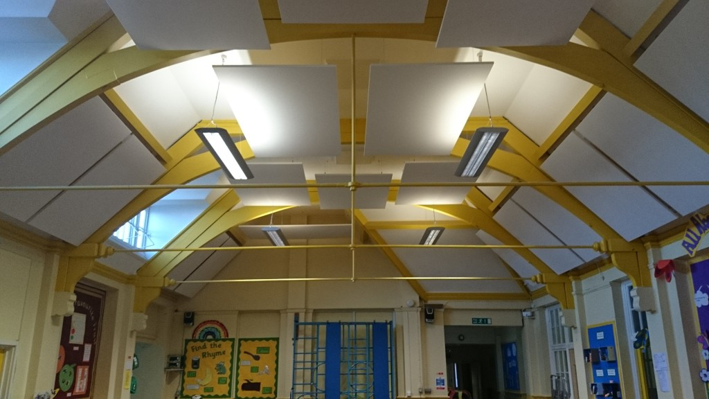 Acoustic ceiling-mounted panels in school hall