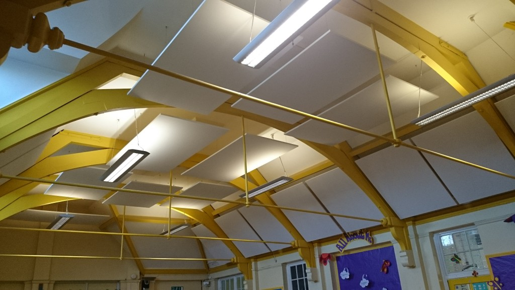 Sound-absorptive panels in school hall