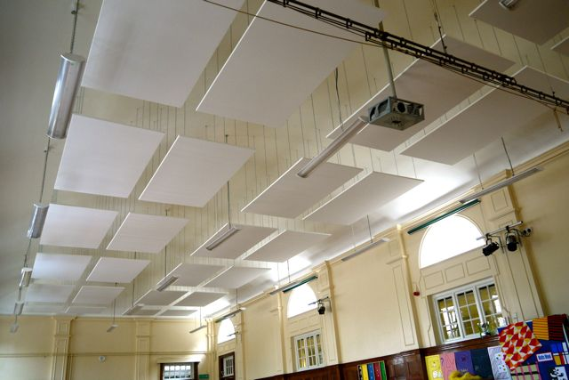 Ceiling-suspended acoustic panels in school hall
