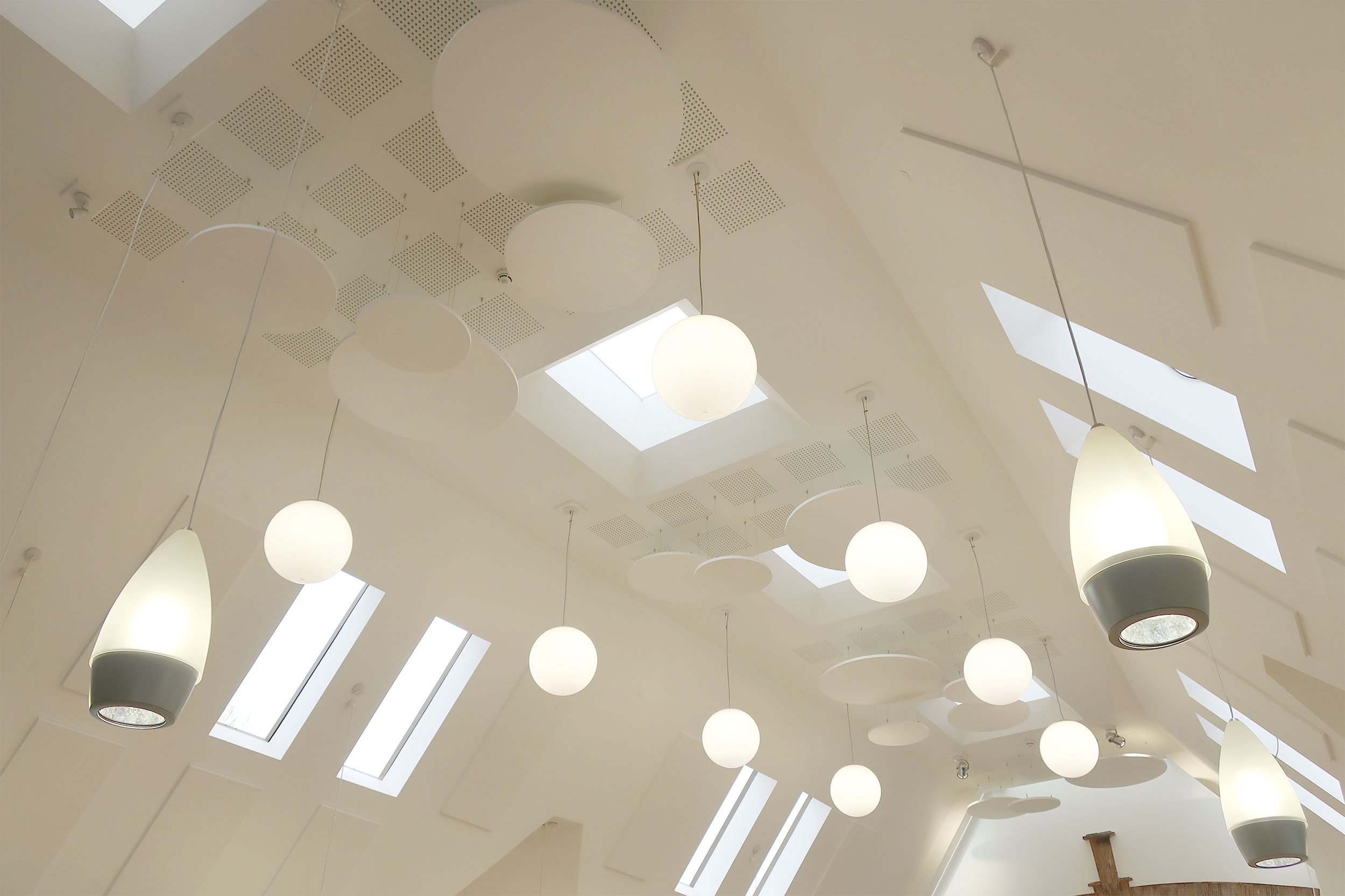 Ceiling Mounted Acoustic Baffles In Church