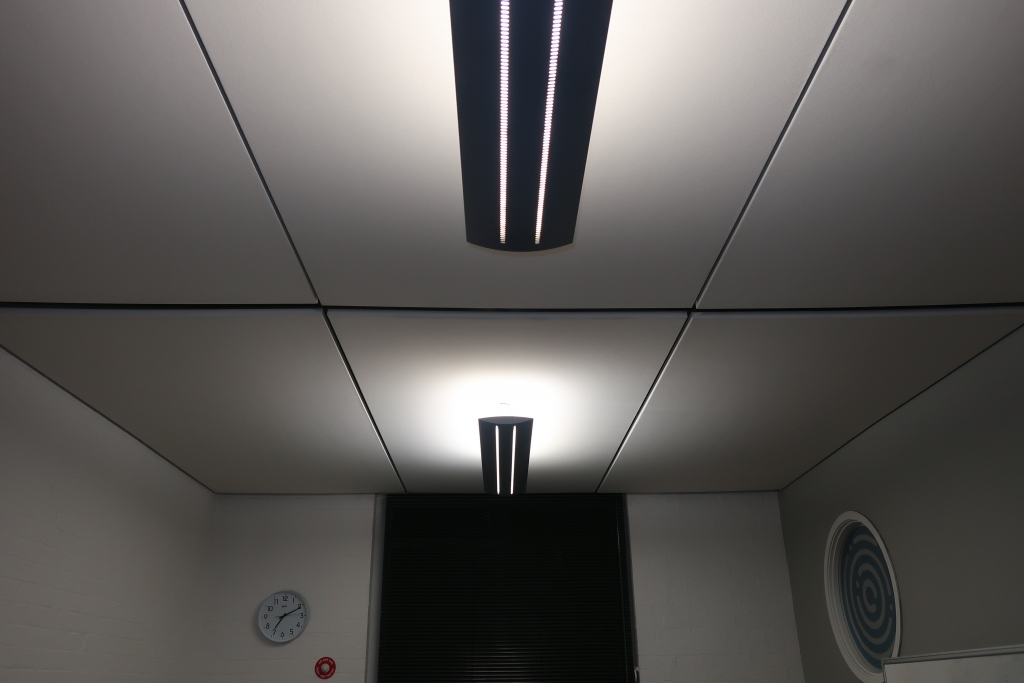Ceiling-Suspended Acoustic Panels In Meeting Room